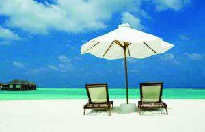 Sunbeds on Maldives